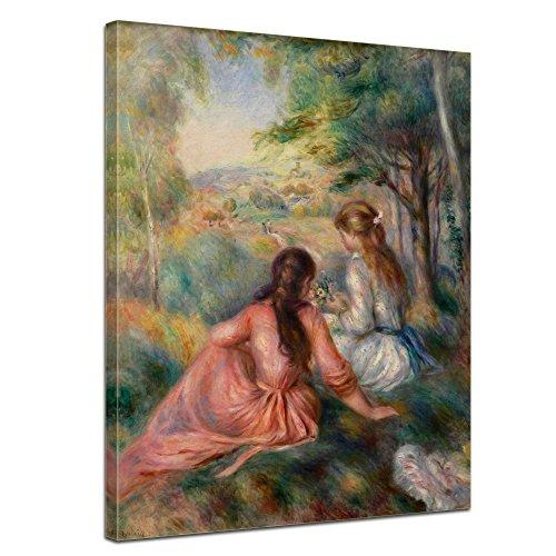 """Bilderdepot24 Leinwandbild Pierre-Auguste Renoir - Alte Meister """"Junge Mädchen auf der Wiese"""" 50x70cm - fertig gerahmt, direkt vom Hersteller"""