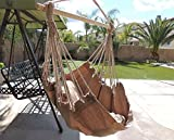 Hammock Chair Hanging Rope Chair Porch Swing Outdoor Chairs Lounge Camp Seat At Patio Lawn Garden Backyard Tan
