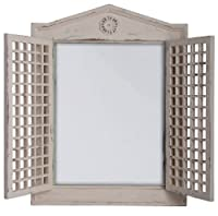 Esschert Design WD16 47 x 5 x 65cm Wood and Glass Mirror with Lattice Doors - White by Esschert