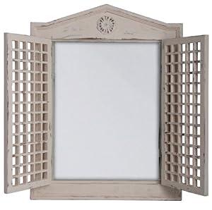 Esschert Design WD16 47 x 5 x 65cm Wood and Glass Mirror with Lattice Doors - White by Esschert