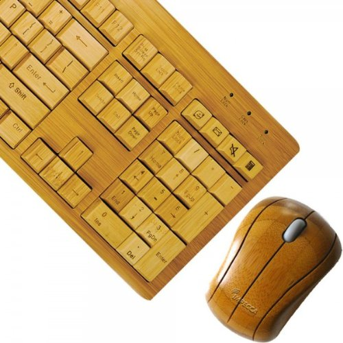 Impecca Full Bamboo Wireless Keyboard And Mouse (Kbb600Cw)