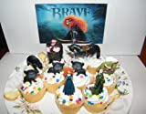 Disney Brave Movie Figure Deluxe Cake Toppers / Cupcake Party Favor Decorations Set of 9 with Princess Merida, Queen Elinor, Horse, Bears, Witch, King Fergus and More!