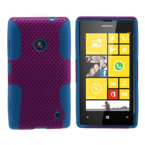 Miniturtle, Premium 2 In 1 Double Layer Perforated Hard Hybrid Phone Case Cover, Clear Screen Protector Film, And Stylus Pen For Windows 8 Smartphone Nokia Lumia 520 /At&T (Purple / Blue)