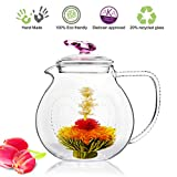 Blooming Tea Glass Teapot with Infuser Pink Love, 34oz/1000ml Non-drip Iced Tea Pitcher