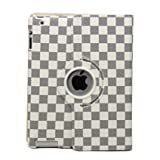 51Dd07peKuL. SL160  Ctech iPad 2 Rotating Magnetic Leather Case Smart Cover (White/Gray) With Swivel Stand (Wake/sleep capability) Stylish Grid Pattern
