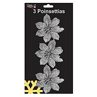 3 Sparkling Clip On Silver Poinsettia Christmas Flower Decorations