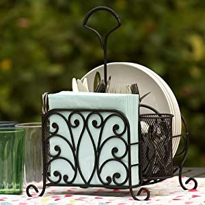 Wrought iron serving caddy and table - Wrought iron flatware ...