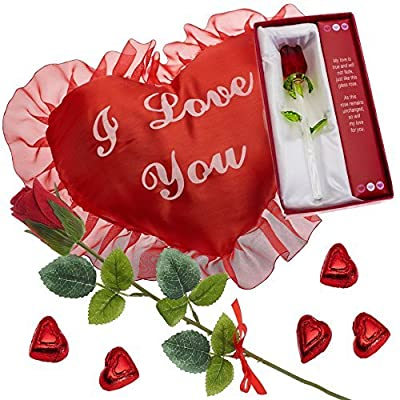 Prextex Valentine's Gift Set includes I love you big red heart pillow, red scented rose, chocolates, and glass valentine's rose from Prextex