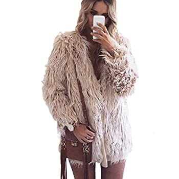 Naggoo Women's Fluffy Faux Fur Coat Winter Long Sleeve Warm Outerwear