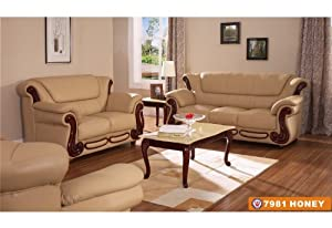 American Eagle Furniture 7981 Honey Bonded Leather With Cherry W
