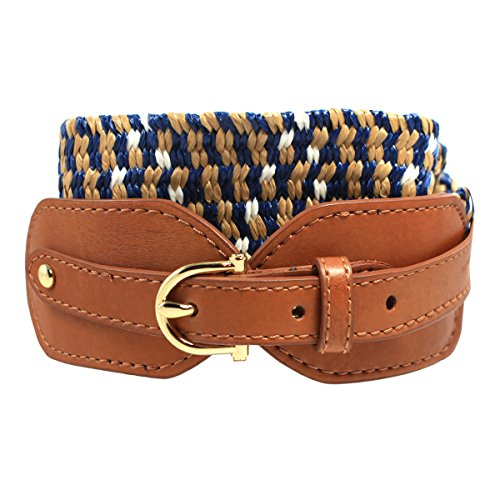 Tommy Hilfiger Womens Woven Stretch Belt, Navy Khaki (Small) (Belt Tommy Hilfiger Women compare prices)