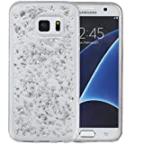 S7 Edge Case, Galaxy S7 Edge Case, Hankuke Soft Luxury Bling Glitter Sparkle Transparent Rubber Case Cover Fashion Creative Design for Grils Children fits for Samsung Galaxy S7 Edge - silver