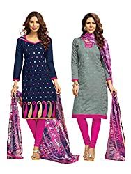 Subhash Sarees Daily Wear Navy Blue and Grey Color Chanderi Jacquard Salwar Suit Dress Material 2 Top, 1 Bottom, 1 Dupatta