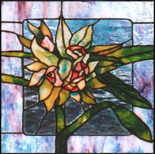 lily flower with green leaves etched vinyl stained glass film static cling window decal good. Black Bedroom Furniture Sets. Home Design Ideas