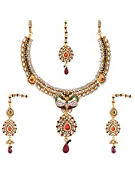 Lucky Jewellery Maroon And Green Gold Plated Meena Jewellery Set For Women - B00SINDYEU