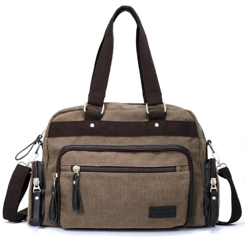 Eshow Men's Retro Weekend Canvas Travel Shoulder Bag