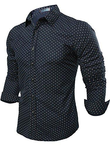 Neleus Uomo Wovens Slim Fit Maniche Lunghe Camicia Casual,23# Dark Blue,Eur L