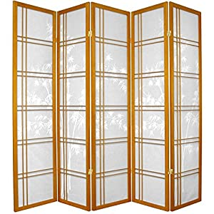 Oriental Furniture 6-Feet Double Cross Bamboo Tree Design Japanese Shoji Screen Room Divider Screen, 5 Panel Honey