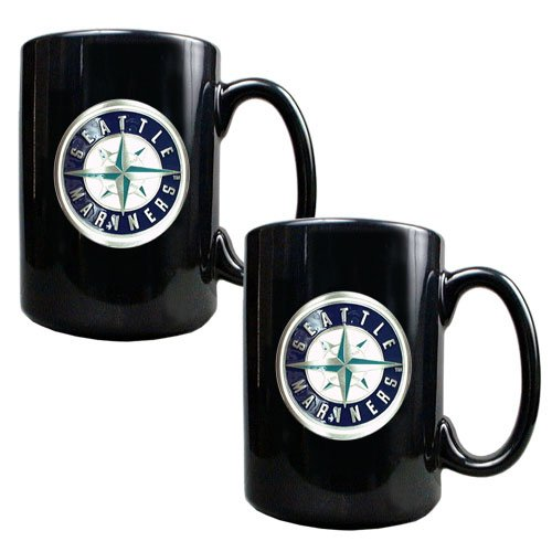 MLB Seattle Mariners Two Piece Black Ceramic Mug Set - Primary Logo at Amazon.com
