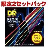 DR DR-NMCE10/2[10-46] NEON マルチカラー エレキギター弦 2セットパック