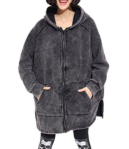 ELLAZHU Women Anorak Pockets Buttons Hooded Solid Coat/Outerwear GY1058