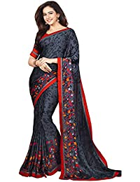 Shivalika Tex Women's Georgette Saree With Blouse Piece (Black_Rakul_Black)