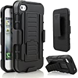 iPhone 5 Case, iPhone 5S Case, Starshop Apple iPhone 5, 5S Hybrid Full Protection High Impact Dual Layer Holster Case with Kickstand and Locking Belt Swivel Clip Black