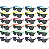 Edge I-Wear 24 Pack 80's High Quality Neon Wayfarer Sunglasses with 100% UVA/UVB Protection 5402R-SET-24 (Made in Taiwan)