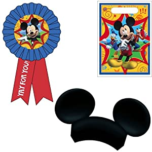 Disney Mickey Mouse Clubhouse Party Favor Kit Including Award Ribbon, Treat Sack and Ears