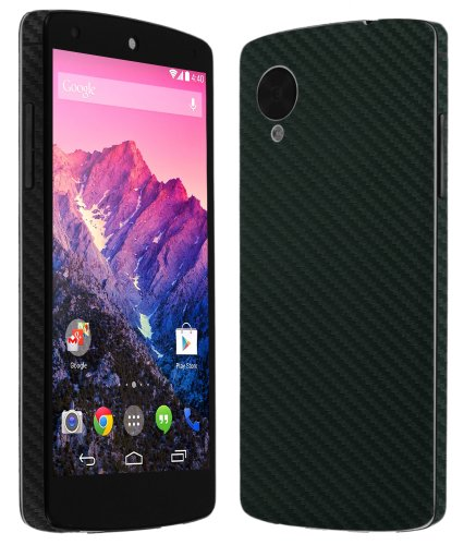 Skinomi® Techskin - Google Nexus 5 Screen Protector + Carbon Fiber Black Full Body Skin Protector / Front & Back Premium Hd Clear Film / Ultra High Definition Invisible And Anti Bubble Crystal Shield With Free Lifetime Replacement Warranty - Retail Packag