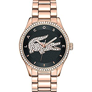 Lacoste Watches Ladies' Victoria Rose Gold Crystal Set Watch With Black Dial