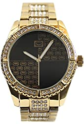 Marc Ecko Mens Rhino The Stone On Metal Trend Inspired Crystal Accented Gold Tone SS Watch E8M138MV
