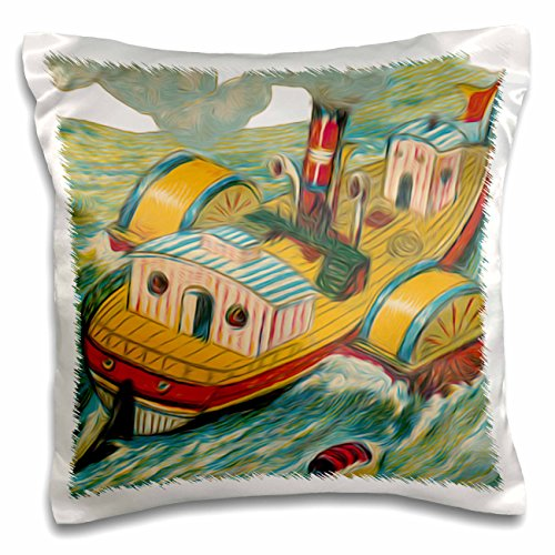 Dooni Designs Vintage Designs - Vintage Steamboat Steamer Nautical Illustration - 16x16 inch Pillow Case (pc_104670_1) (Steamboat Steamer compare prices)
