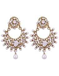 I Jewels Traditional Gold Plated Ramleela Inspired Kundan & Stone Earrings With Pearl Drops For Women (White)...