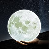 GPJOY Moon Lamp 3D Printing Moon Night Light Rechargeable Lunar Night Light, Dimmable Touch Control Brightness Warm and Cool White, Home Decorative Light with Wooden Stand, Diameter 5.7 Inch (Color: White, Tamaño: 5.7 inch)