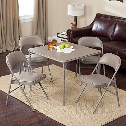 Meco Sudden Comfort Deluxe Double Padded Chair and Back - 5 Piece Card Table Set - Chickory Beige