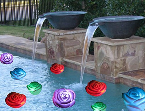 Mothers day Gift Flameless Candles ,6-Battery Powered, Waterproof, Color Changing (7 Colors) LED Romantic Rose Flower Night Light Floating Candle.