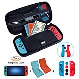 ?Case Kit for Nintendo Switch? ANGPO for Nintendo Switch Carrying Travel Case Hard Shell Portable Bag/Screen Protector(2 Pcs)/Joy-con Protection/Game Card Case(2 Pcs)/5in1 Set (PU-Blue)