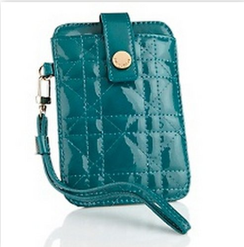 Big Buddha Handbag Veronica Quilted Patent iPhone Wristlet Case Turquoise