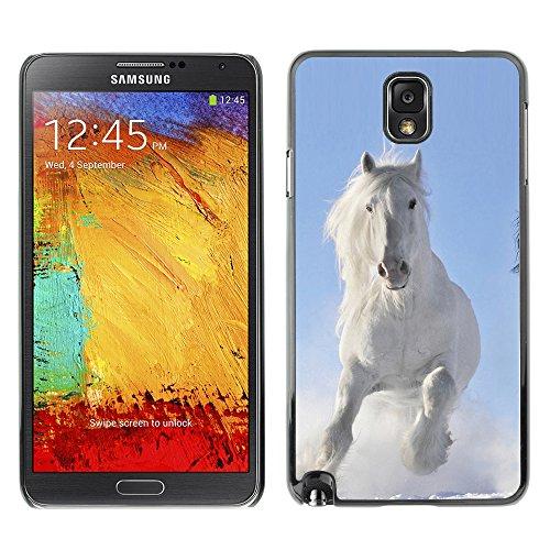 GOODTHINGS Schwarz Handy Schutz Hülle Bild Case Cover Hart Schale Etui für Samsung Galaxy Note 3 III N9000 GT-N9002 N9005 ( majestatische weise Winter Pferd )