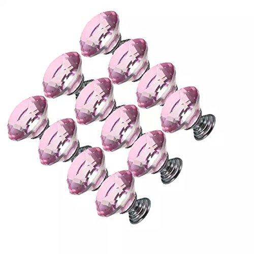 DECOOL (TM) 12 PCS 30mm Pink Kristallglas Diamond Shape Door Knob Schubladenschrank Türknopf Möbel Küchengriff Schublade Ziehen Griff Möbelgriffe Set Tür der , Schrank , Kleiderschrank online bestellen