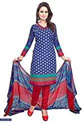 Galaxy Women's Multi-Coloured Printed Poly-Cotton Dress Material (Free Size_Blue)