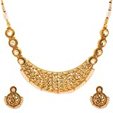 Adwitiya 24K Gold Plated Royal Kundan and Pearl Studded Ethnic Necklace Set With Earrings For Womens