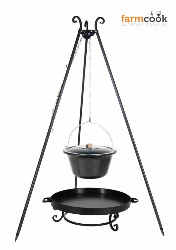 Dreibein Grill VIKING Höhe 180cm + Emaillierter Topf 10 Liter + Feuerschale Pan32 Durchmesser 60cm online kaufen