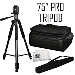 Professional 75-inch Tripod 3-way Panhead Tilt Motion with Built In Bubble Leveler + Rugged Series Water Resistant, Adjustable Shoulder Strap, Heavy Duty, Shock Proof Pro Camcorder Carrying Case for the Sony HVR-HD1000U, DCR-TRV900, VX2100, DSR-PD150, PD1
