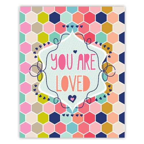 "Lucy Darling You Are Loved Honeycomb Print Wall Decor, 8"" x 10"""
