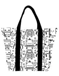 Snoogg Digit Bit Boy Pattern Womens Large Shoulder Tote Bag