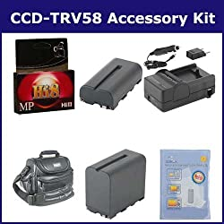 Sony CCD-TRV58 Camcorder Accessory Kit includes: VID90C Case, HI8TAPE Tape/ Media, SDNPF970 Battery, ZELCKSG Care & Cleaning, SDNPF570 Battery, SDM-105 Charger