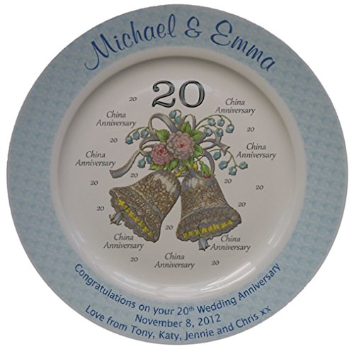 Personalized Bone China Commemorative Plate For A 20th Wedding Anniversary - Wedding Bells Design With A Blue Rim