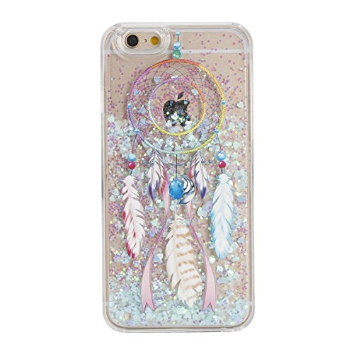 IKASEFU Funny Novelty[Flowing Glitter Blue Hearts]Colorful Dreamcatcher Hard Bling Shiny Clear Liquid Plastic Case Cover for iPhone 6 Plus/6S Plus 5.5